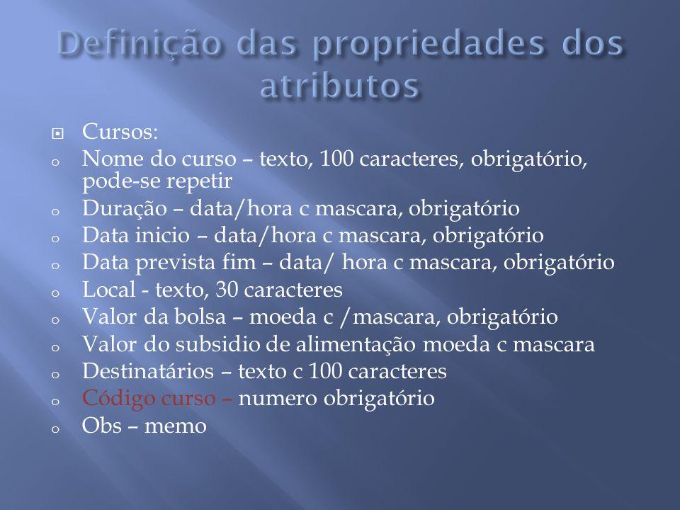 Definição das propriedades dos atributos