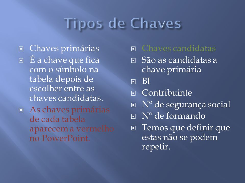 Tipos de Chaves Chaves primárias