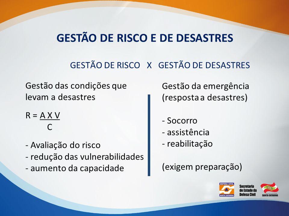 GESTÃO DE RISCO E DE DESASTRES