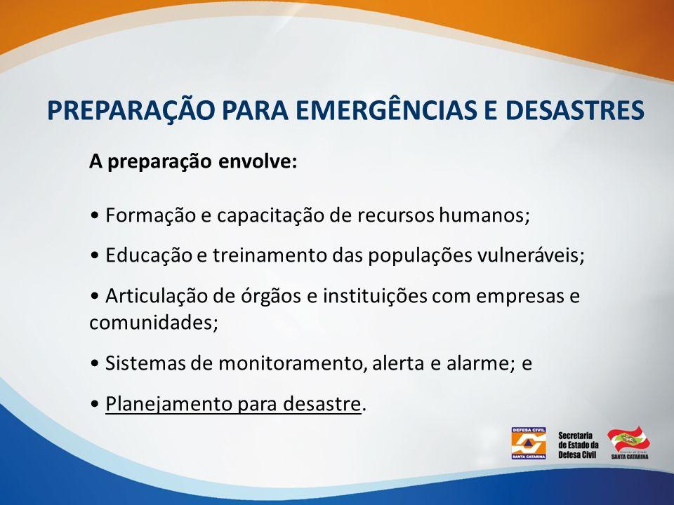 PREPARAÇÃO PARA EMERGÊNCIAS E DESASTRES