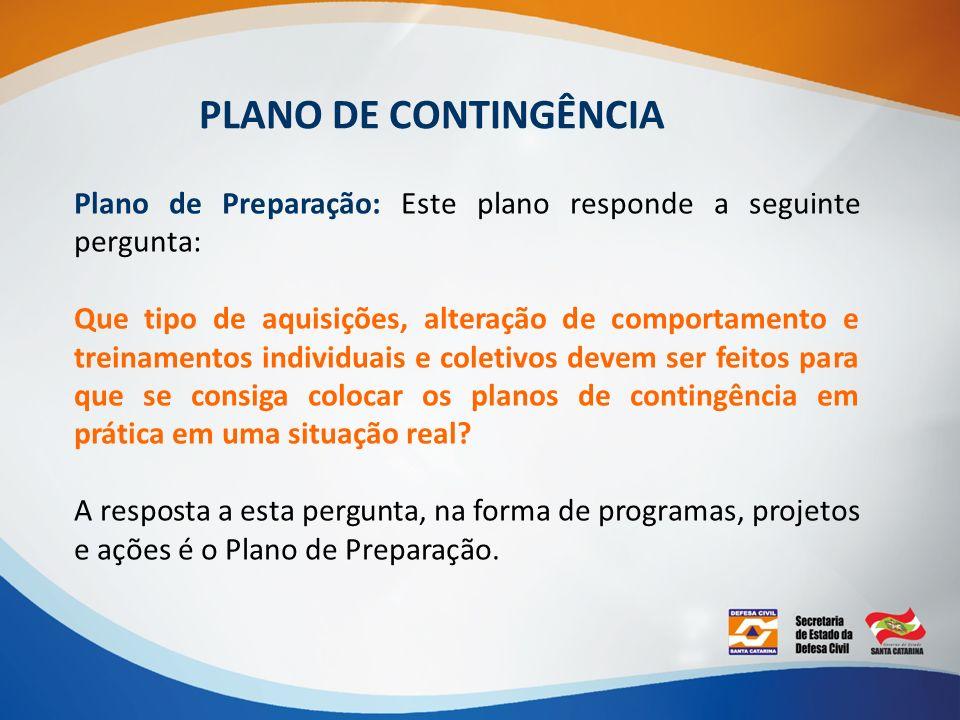 PLANO DE CONTINGÊNCIA Plano de Preparação: Este plano responde a seguinte pergunta: