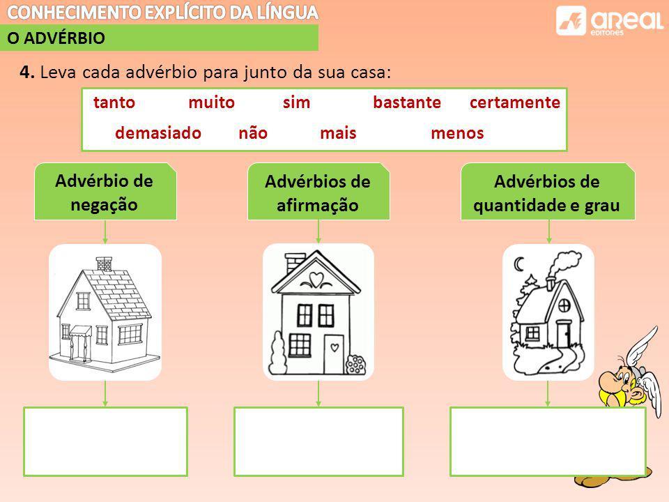Advérbios de afirmação Advérbios de quantidade e grau