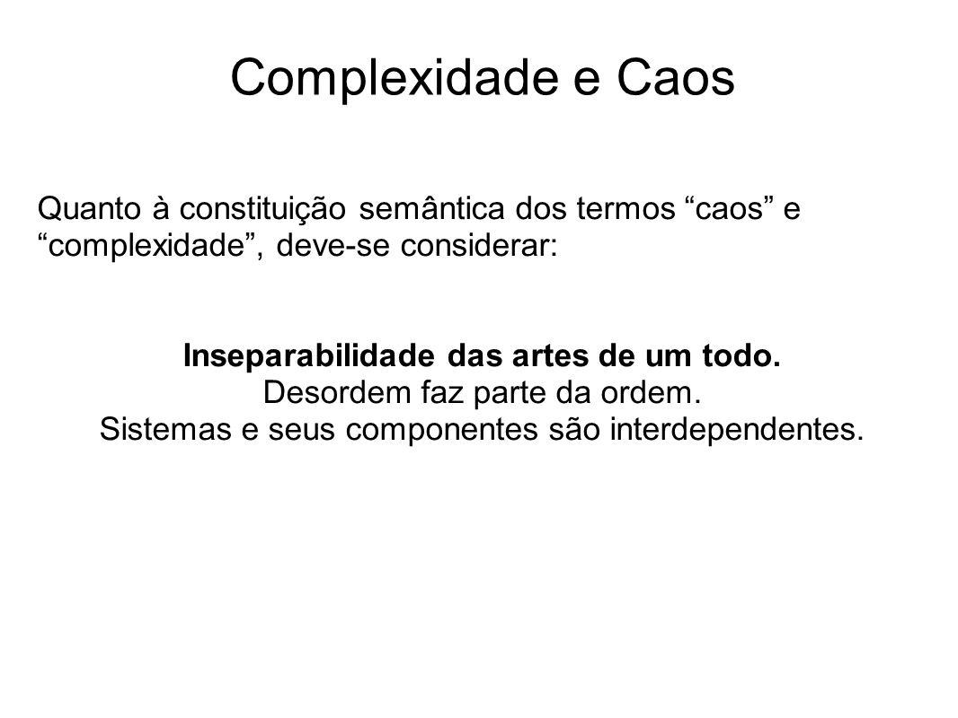 Complexidade e Caos Quanto à constituição semântica dos termos caos e complexidade , deve-se considerar: