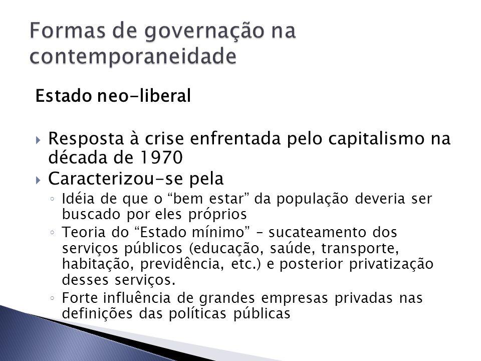 Formas de governação na contemporaneidade