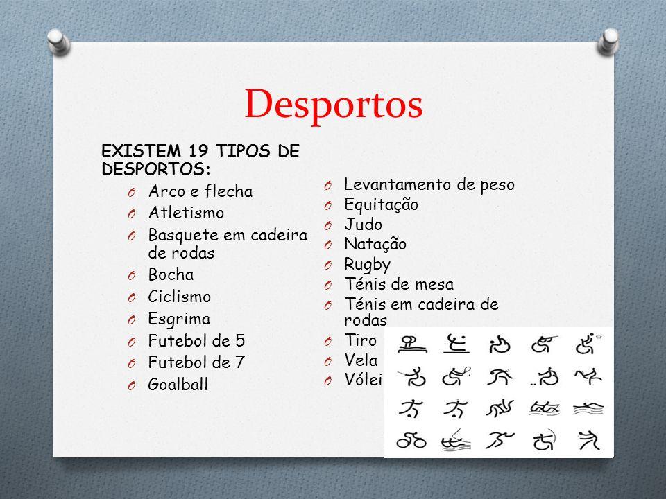 Desportos EXISTEM 19 TIPOS DE DESPORTOS: Arco e flecha