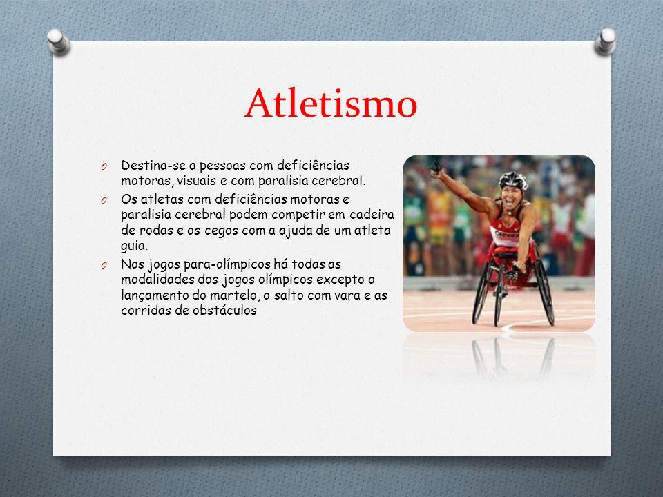 Atletismo Destina-se a pessoas com deficiências motoras, visuais e com paralisia cerebral.