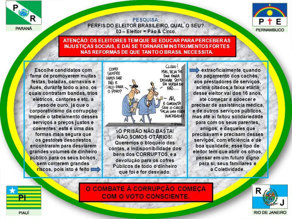 O COMBATE À CORRUPÇÃO COMEÇA COM O VOTO CONSCIENTE.