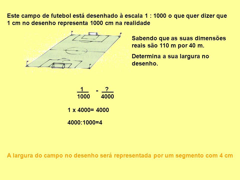 Este campo de futebol está desenhado à escala 1 : 1000 o que quer dizer que 1 cm no desenho representa 1000 cm na realidade