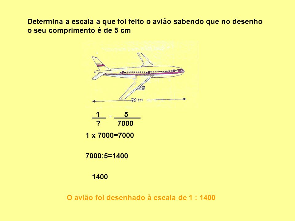 Determina a escala a que foi feito o avião sabendo que no desenho o seu comprimento é de 5 cm