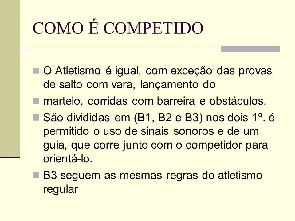 COMO É COMPETIDO O Atletismo é igual, com exceção das provas de salto com vara, lançamento do. martelo, corridas com barreira e obstáculos.