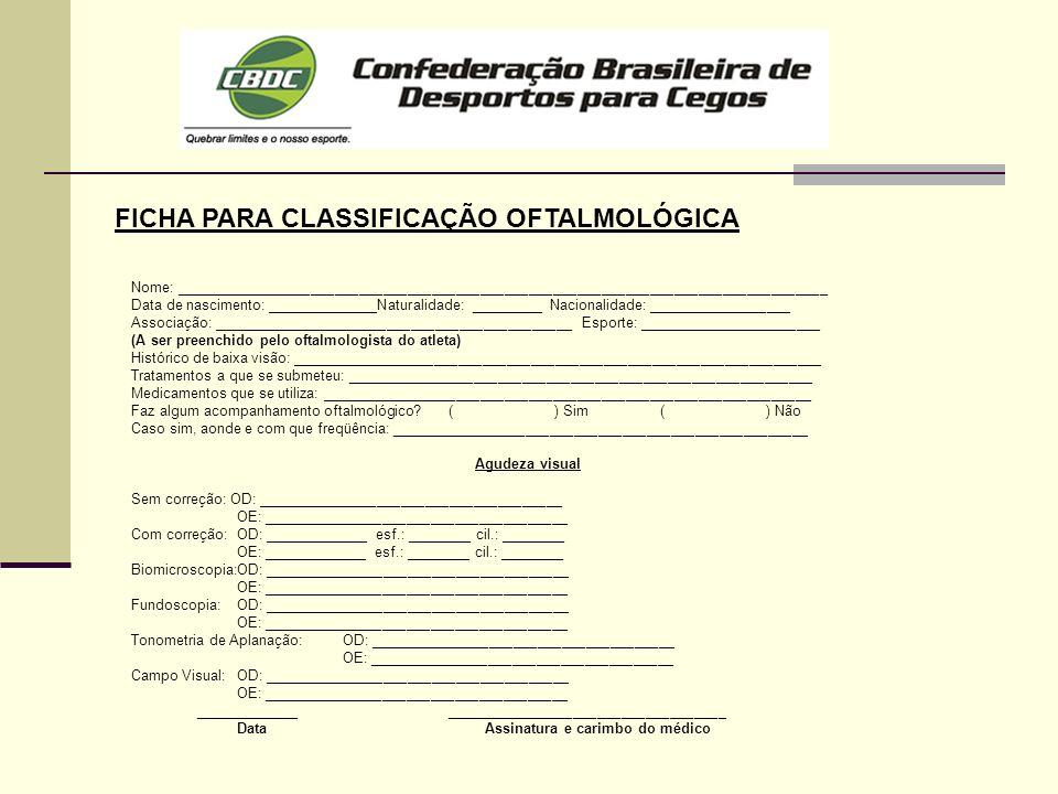 FICHA PARA CLASSIFICAÇÃO OFTALMOLÓGICA