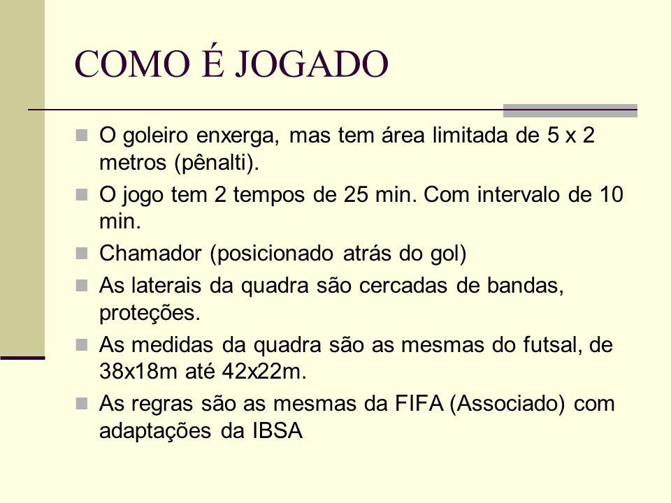 COMO É JOGADO O goleiro enxerga, mas tem área limitada de 5 x 2 metros (pênalti). O jogo tem 2 tempos de 25 min. Com intervalo de 10 min.