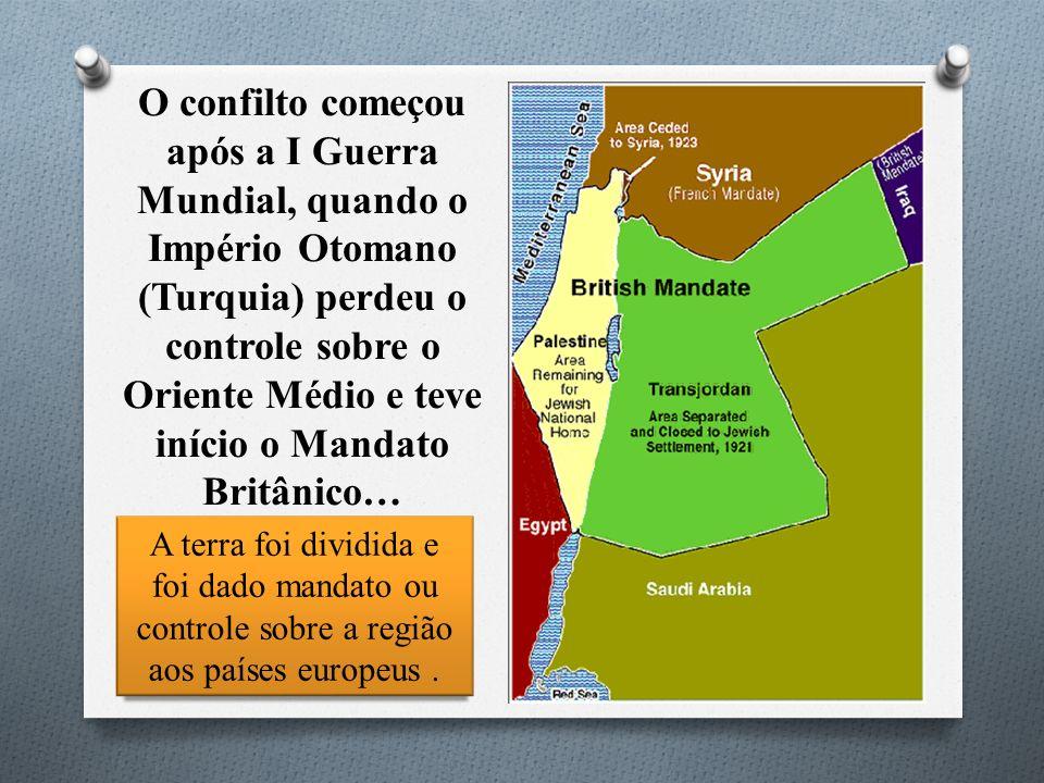 O confilto começou após a I Guerra Mundial, quando o Império Otomano (Turquia) perdeu o controle sobre o Oriente Médio e teve início o Mandato Britânico…
