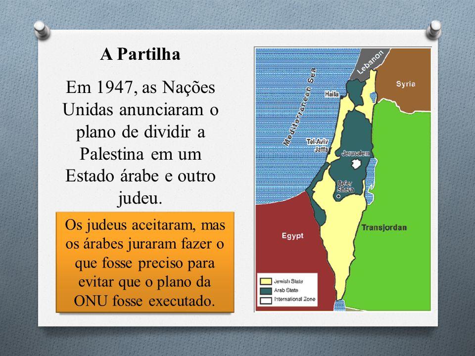 A Partilha Em 1947, as Nações Unidas anunciaram o plano de dividir a Palestina em um Estado árabe e outro judeu.