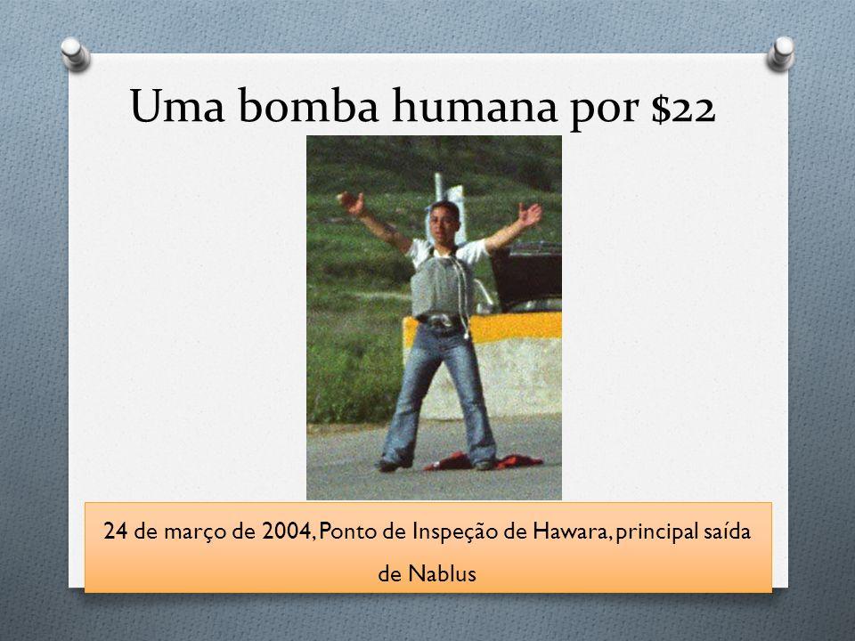 Uma bomba humana por $22 24 de março de 2004, Ponto de Inspeção de Hawara, principal saída de Nablus.