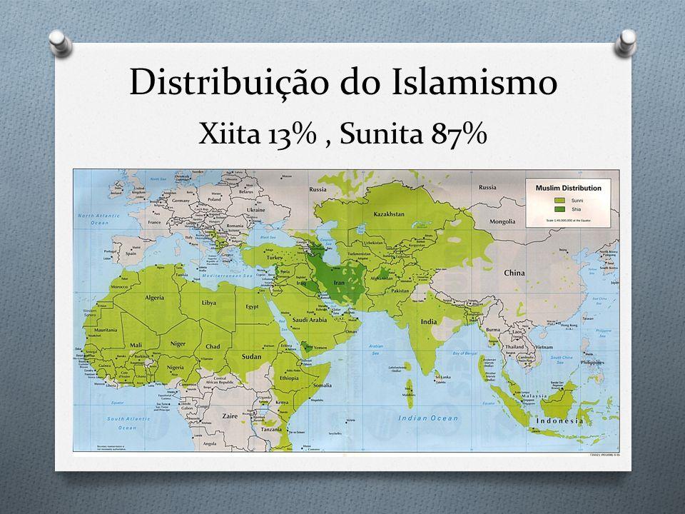 Distribuição do Islamismo Xiita 13% , Sunita 87%