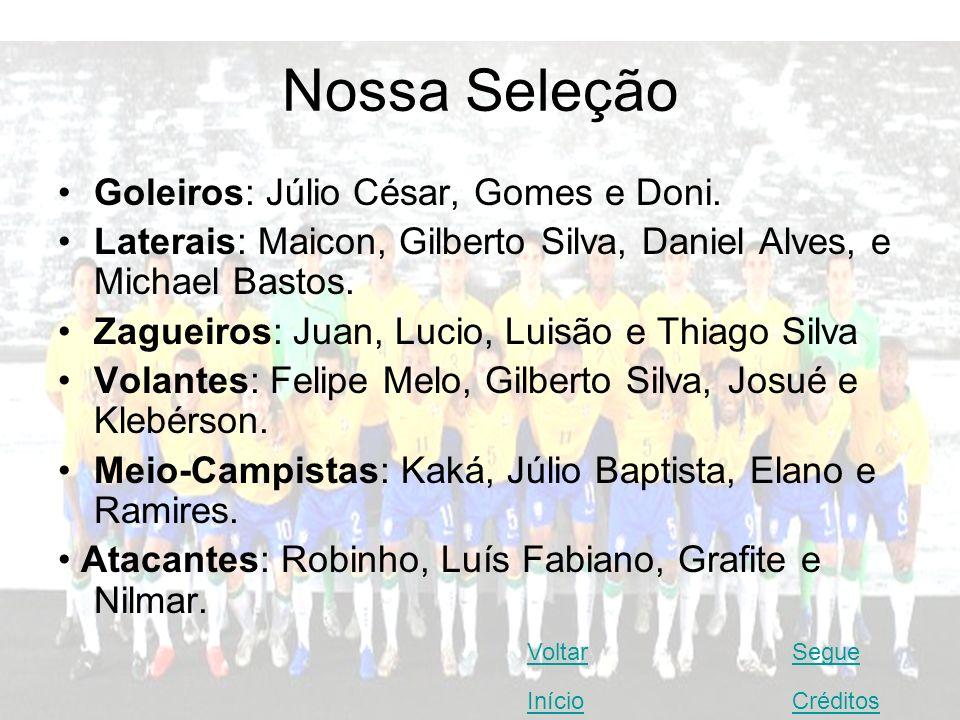 Nossa Seleção Goleiros: Júlio César, Gomes e Doni.