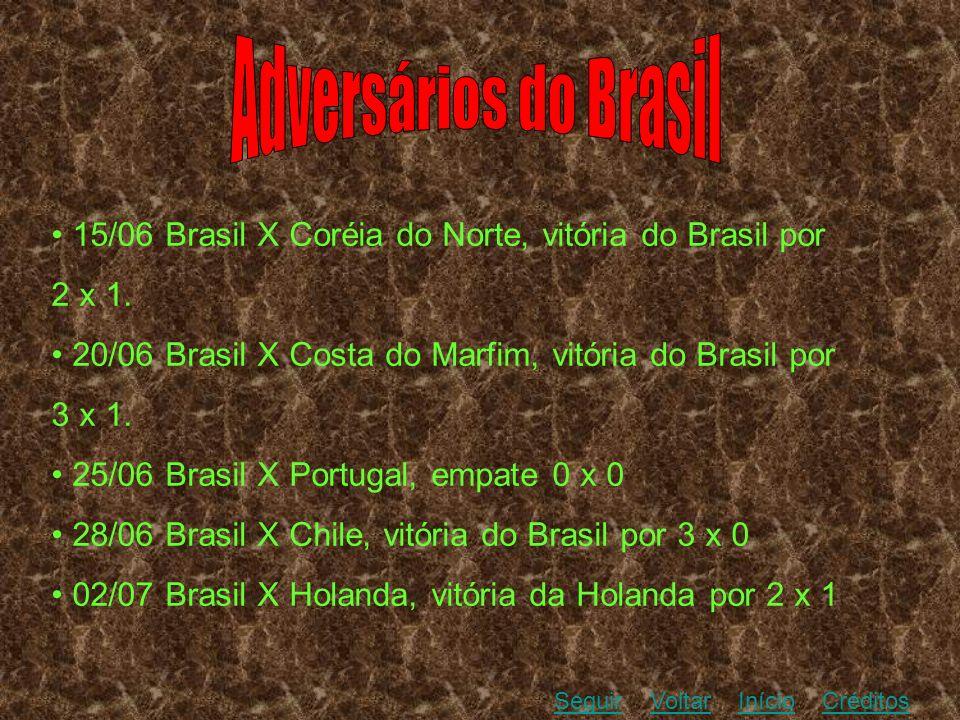 Adversários do Brasil • 15/06 Brasil X Coréia do Norte, vitória do Brasil por. 2 x 1. • 20/06 Brasil X Costa do Marfim, vitória do Brasil por.