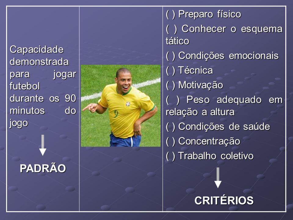 Capacidade demonstrada para jogar futebol durante os 90 minutos do jogo