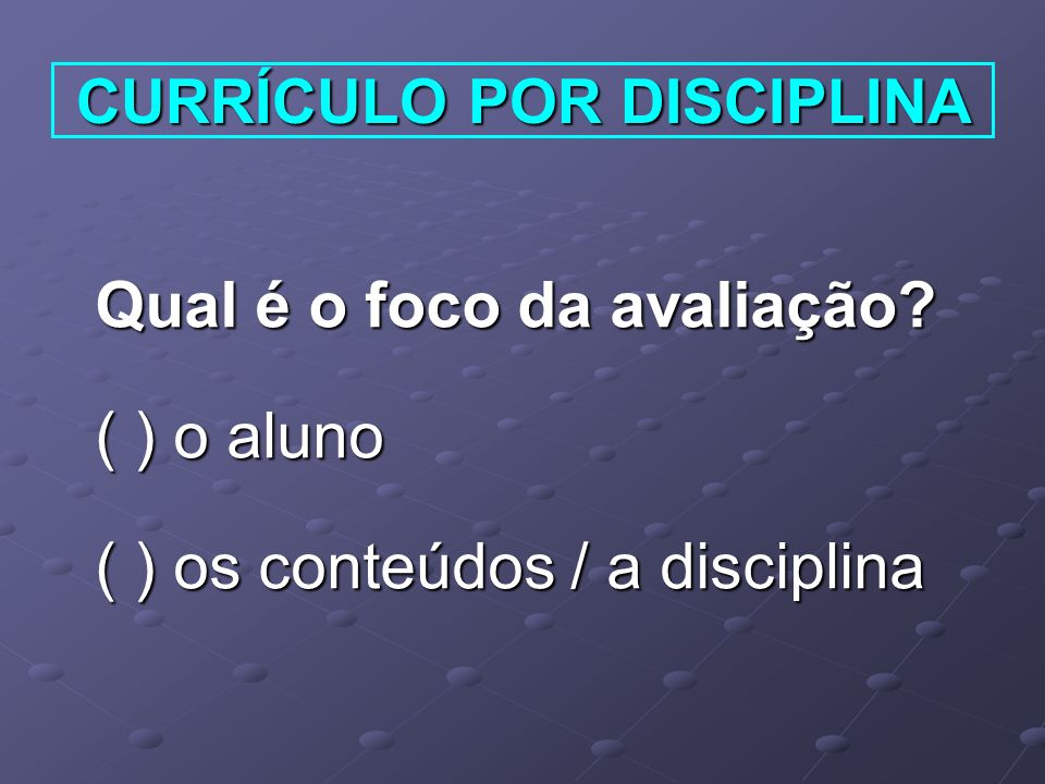 CURRÍCULO POR DISCIPLINA