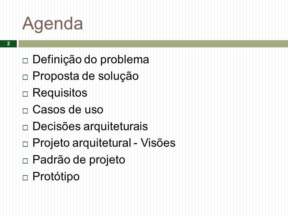 Agenda Definição do problema Proposta de solução Requisitos