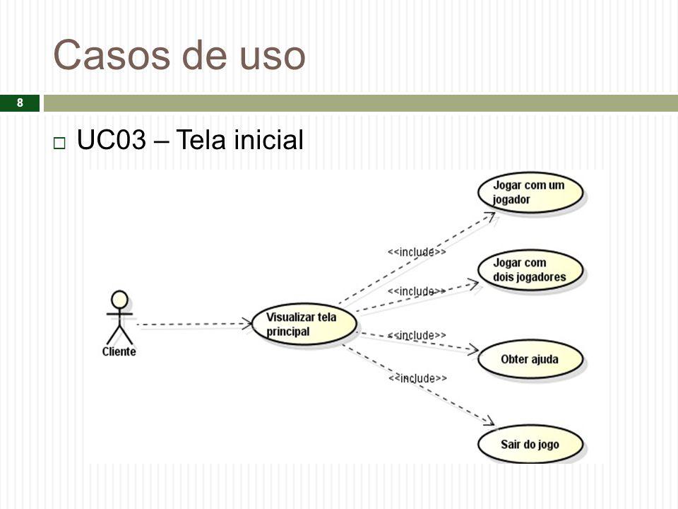 Casos de uso UC03 – Tela inicial