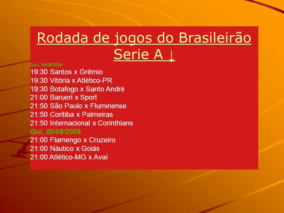 Rodada de jogos do Brasileirão Serie A ↓