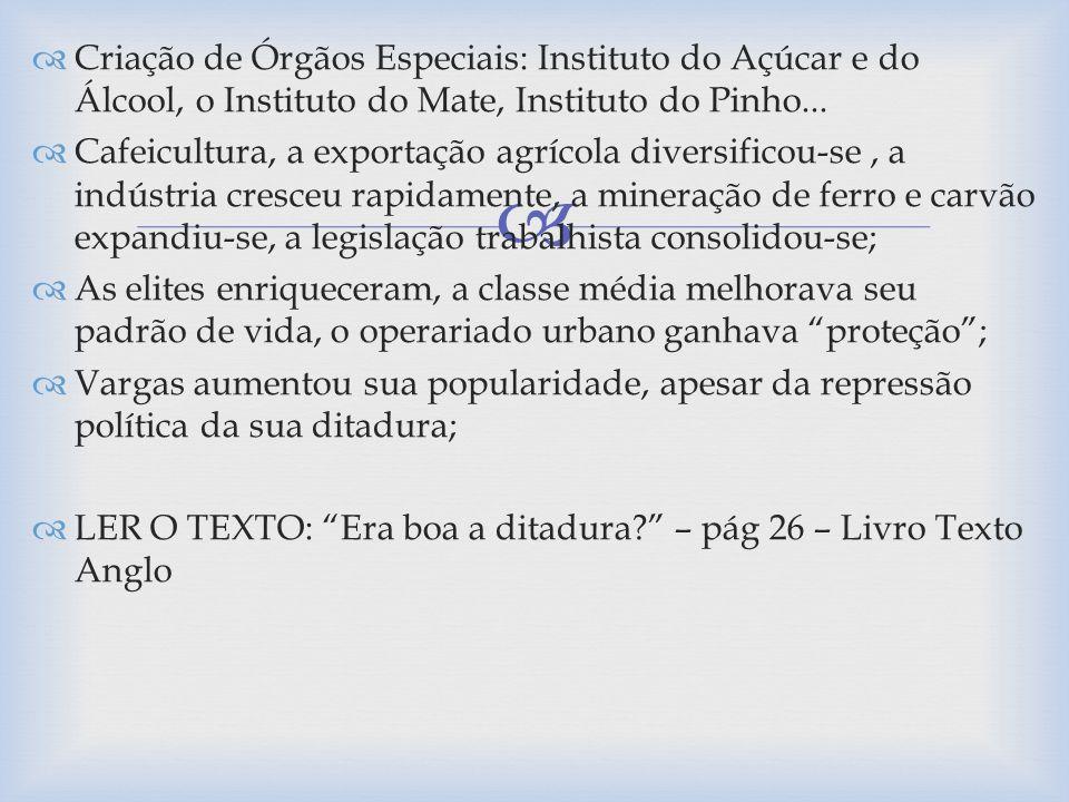 Criação de Órgãos Especiais: Instituto do Açúcar e do Álcool, o Instituto do Mate, Instituto do Pinho...