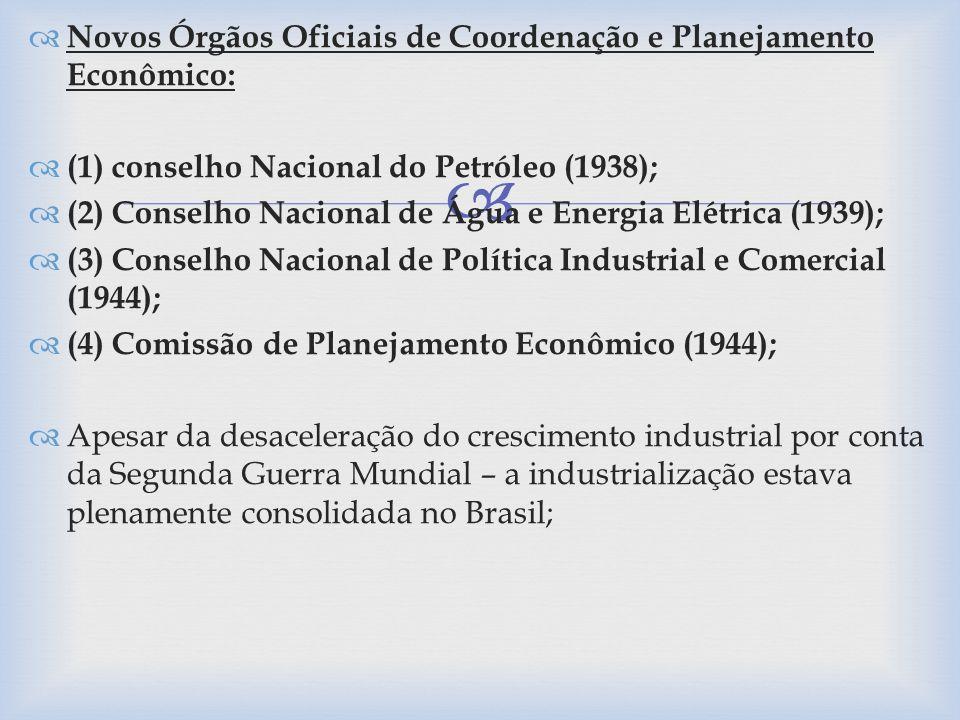 Novos Órgãos Oficiais de Coordenação e Planejamento Econômico: