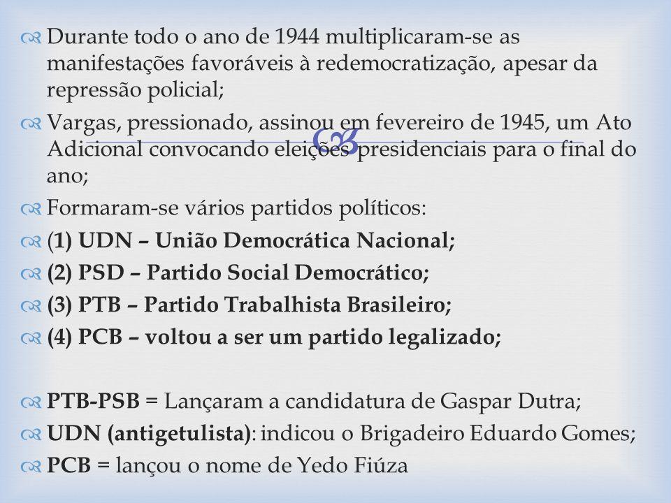 Durante todo o ano de 1944 multiplicaram-se as manifestações favoráveis à redemocratização, apesar da repressão policial;