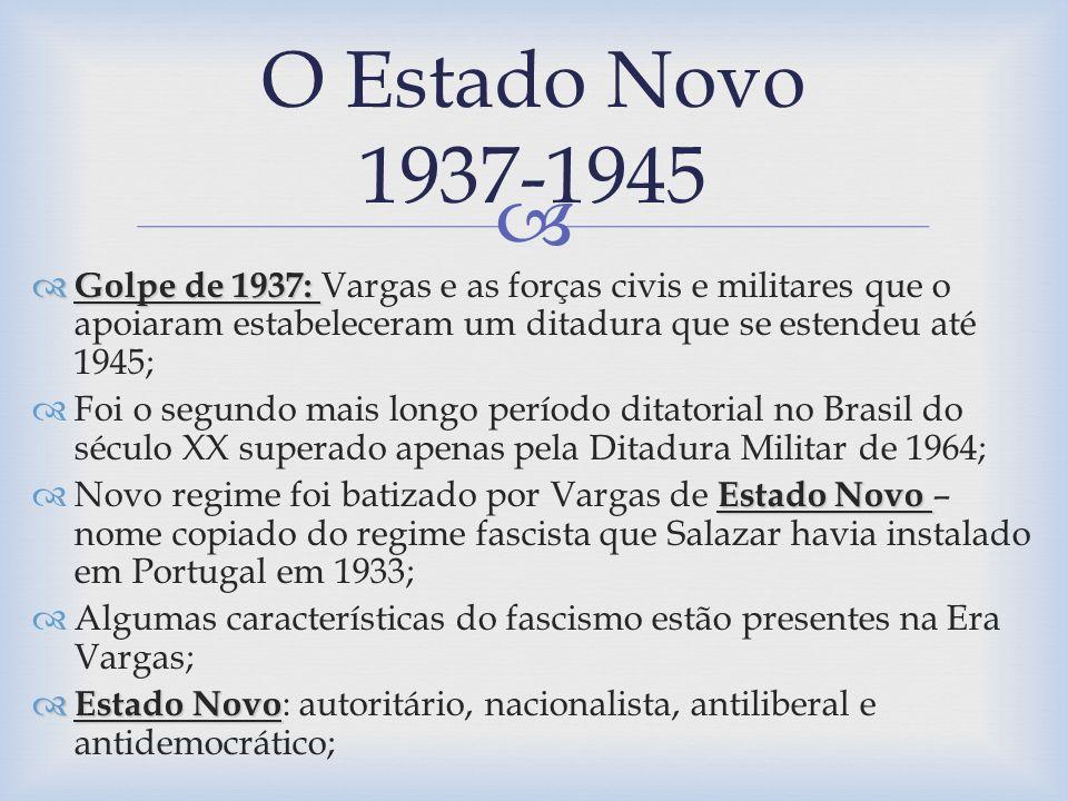 O Estado Novo 1937-1945 Golpe de 1937: Vargas e as forças civis e militares que o apoiaram estabeleceram um ditadura que se estendeu até 1945;