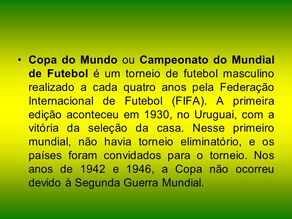 Copa do Mundo ou Campeonato do Mundial de Futebol é um torneio de futebol masculino realizado a cada quatro anos pela Federação Internacional de Futebol (FIFA).