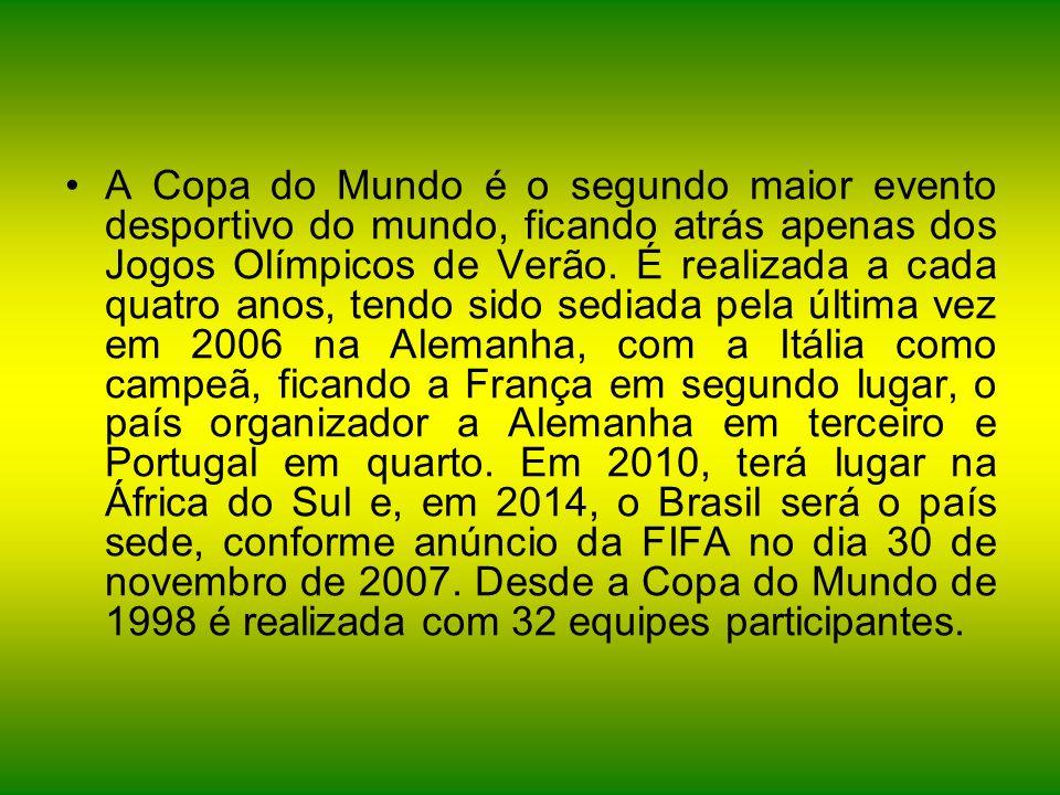A Copa do Mundo é o segundo maior evento desportivo do mundo, ficando atrás apenas dos Jogos Olímpicos de Verão.