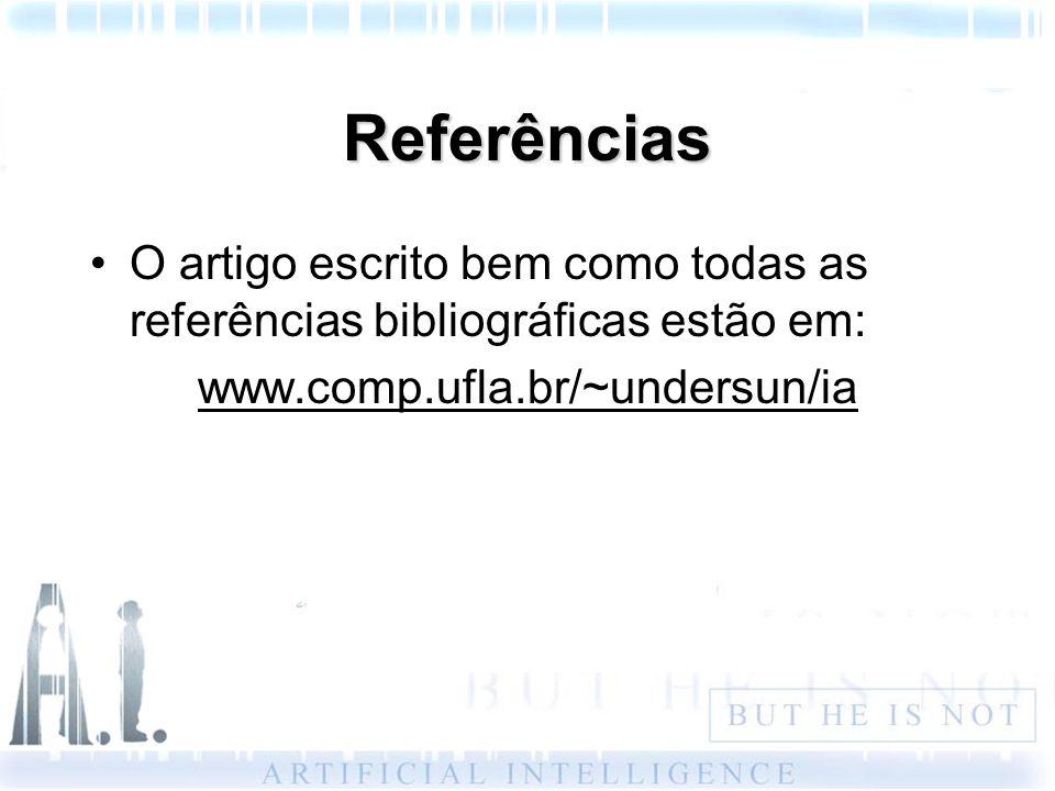 Referências O artigo escrito bem como todas as referências bibliográficas estão em: www.comp.ufla.br/~undersun/ia.