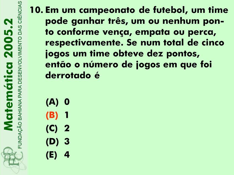 Em um campeonato de futebol, um time pode ganhar três, um ou nenhum pon-to conforme vença, empata ou perca, respectivamente. Se num total de cinco jogos um time obteve dez pontos, então o número de jogos em que foi derrotado é