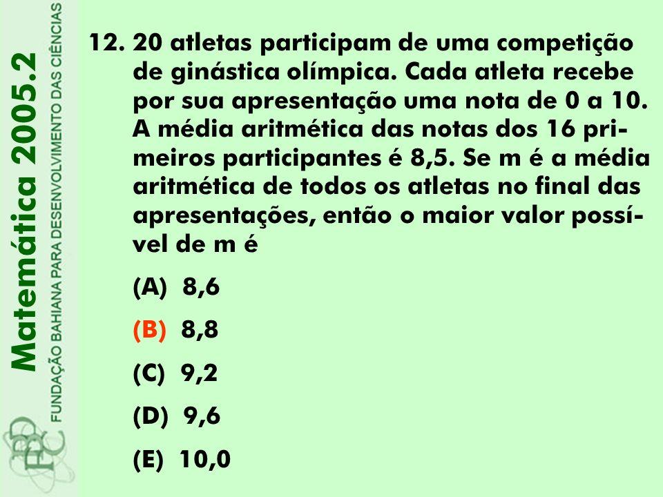 20 atletas participam de uma competição de ginástica olímpica