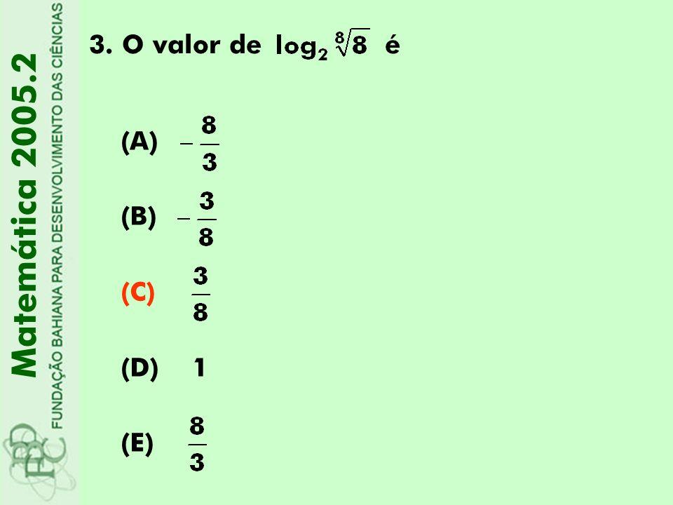 O valor de é (A) (B) (C) (D) 1 (E) Matemática 2005.2