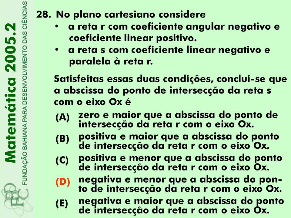Matemática 2005.2 No plano cartesiano considere