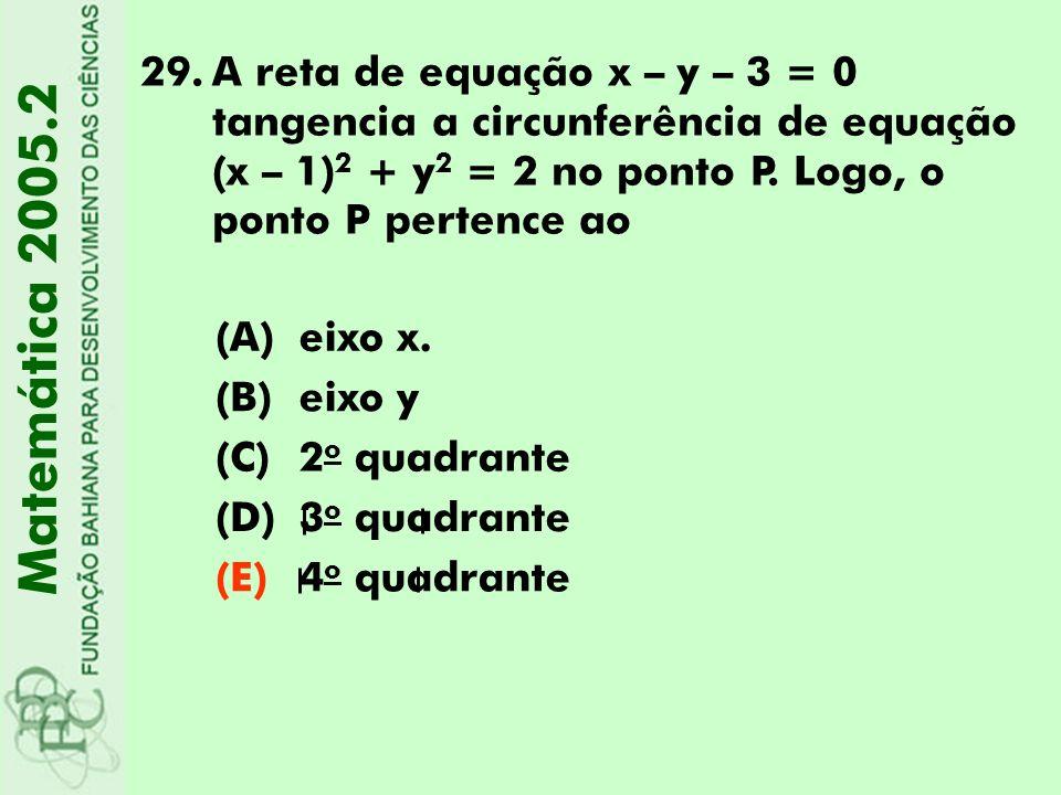 A reta de equação x – y – 3 = 0 tangencia a circunferência de equação (x – 1)2 + y2 = 2 no ponto P. Logo, o ponto P pertence ao