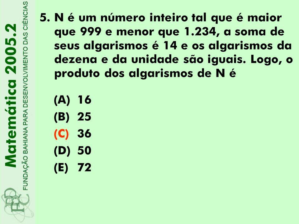 N é um número inteiro tal que é maior que 999 e menor que 1