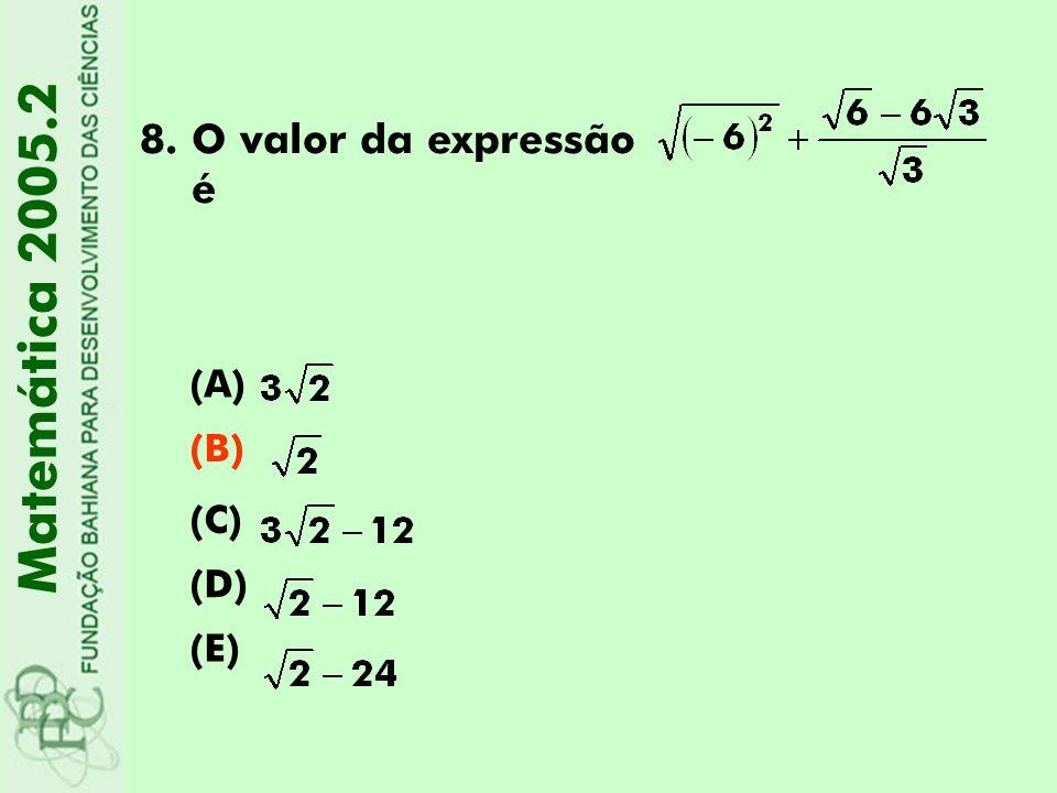 O valor da expressão é Matemática 2005.2 (A) (B) (C) (D) (E)