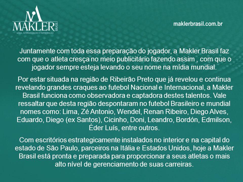 Juntamente com toda essa preparação do jogador, a Makler Brasil faz com que o atleta cresça no meio publicitário fazendo assim , com que o jogador sempre esteja levando o seu nome na mídia mundial.