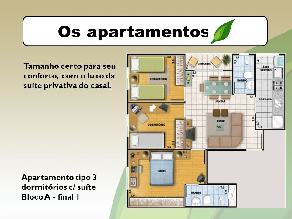 O bairro Os apartamentos. Tamanho certo para seu conforto, com o luxo da suíte privativa do casal.
