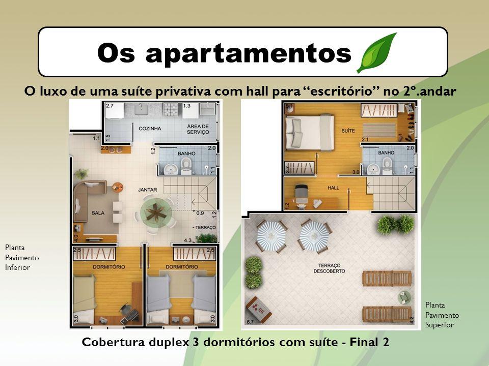 O bairro Os apartamentos. O luxo de uma suíte privativa com hall para escritório no 2º.andar. Planta Pavimento Inferior.