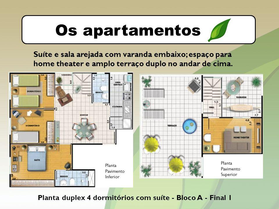 O bairro Os apartamentos. Suíte e sala arejada com varanda embaixo; espaço para home theater e amplo terraço duplo no andar de cima.