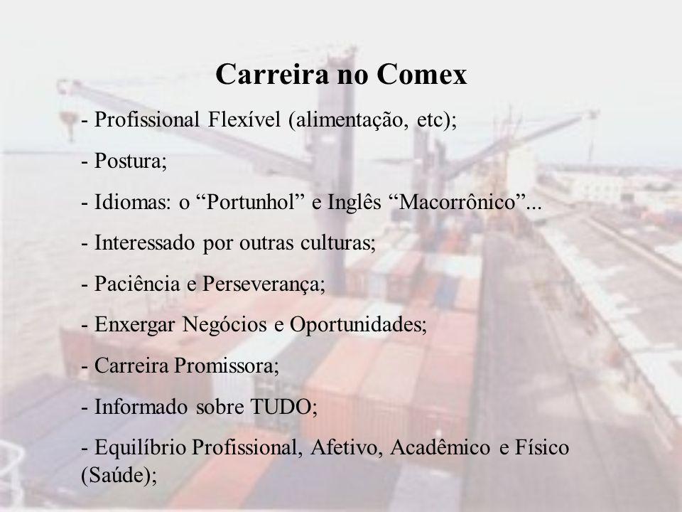 Carreira no Comex - Profissional Flexível (alimentação, etc);