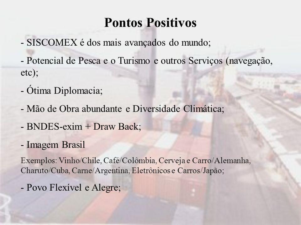 Pontos Positivos - SISCOMEX é dos mais avançados do mundo;