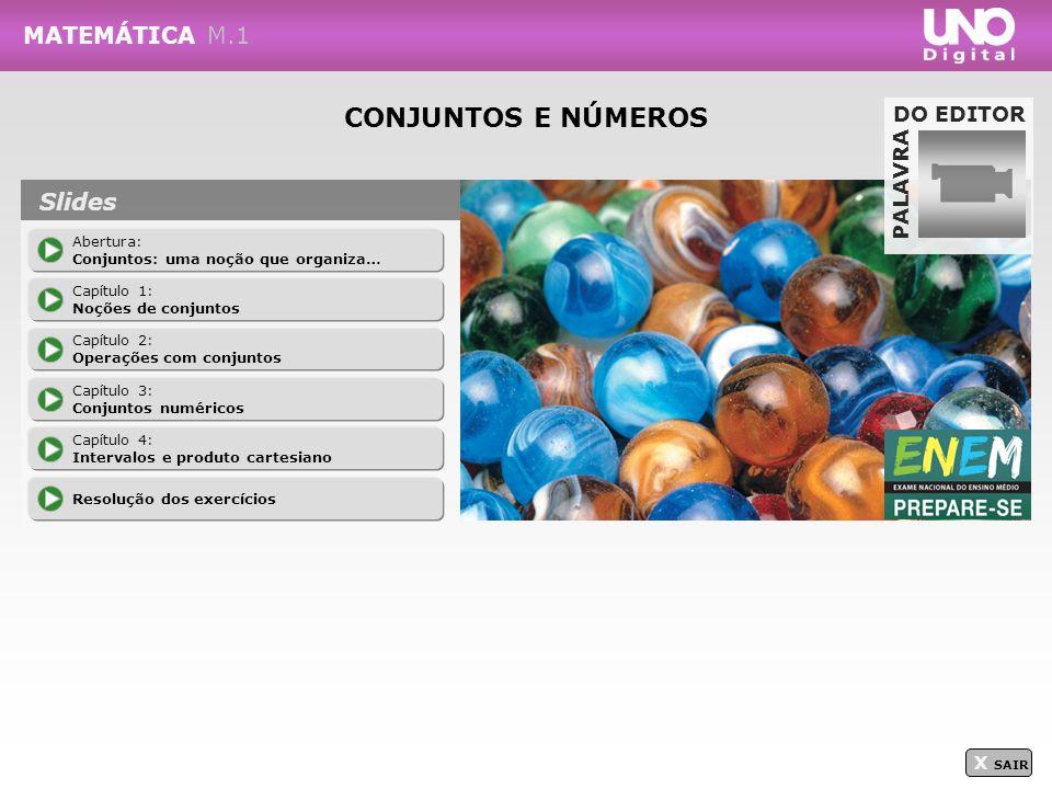 CONJUNTOS E NÚMEROS MATEMÁTICA M.1 Slides DO EDITOR PALAVRA X SAIR