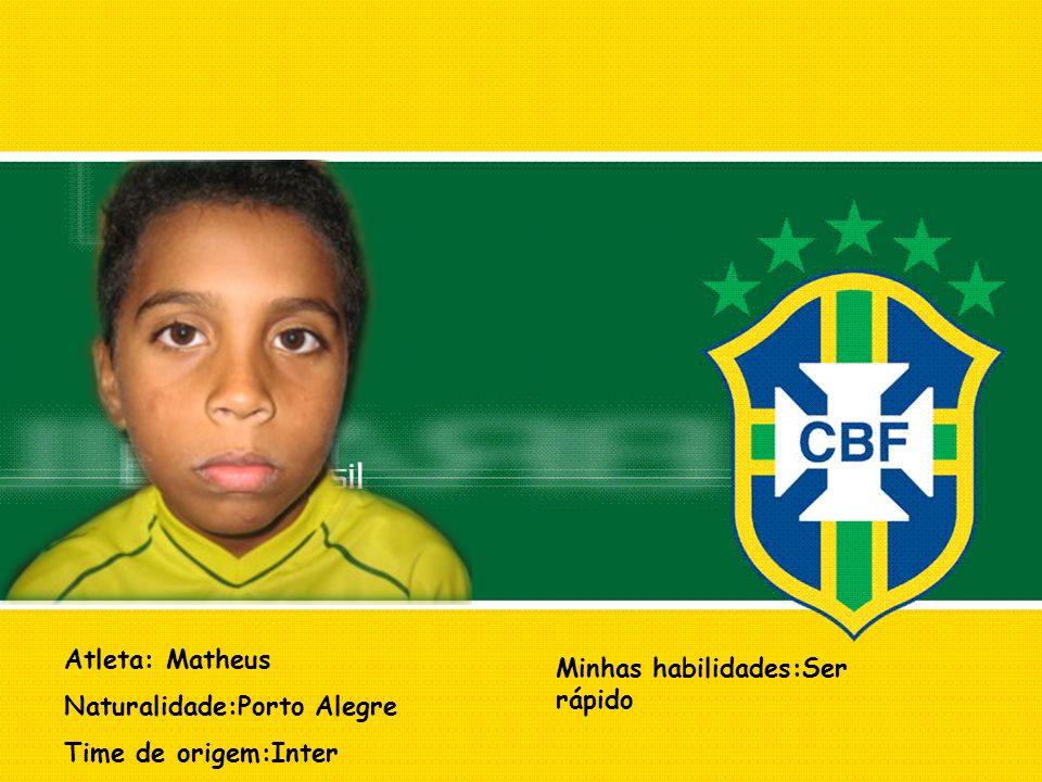 Atleta: Matheus Naturalidade:Porto Alegre Time de origem:Inter Minhas habilidades:Ser rápido
