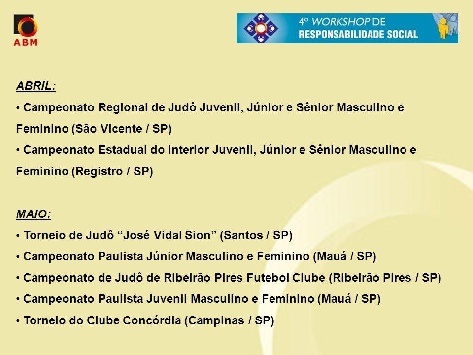 ABRIL: Campeonato Regional de Judô Juvenil, Júnior e Sênior Masculino e Feminino (São Vicente / SP)